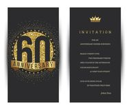 60th anniversary decorated greeting card template. Vector stock illustration