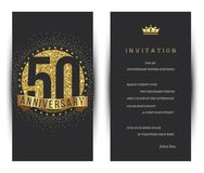 50th anniversary decorated greeting card template. Vector stock illustration