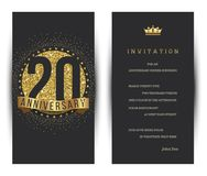 20th anniversary decorated greeting card template. Vector Stock Images
