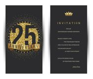 25th anniversary decorated greeting card template. Vector Stock Images