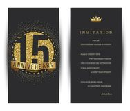 15th anniversary decorated greeting card template. Vector royalty free illustration