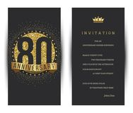 80th anniversary decorated greeting card template. Vector vector illustration