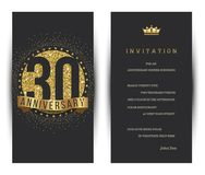 30th anniversary decorated greeting card template. Vector Royalty Free Stock Image
