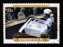 30th Anniversary of Democratic Party of Guinea, serie, circa 1977. MOSCOW, RUSSIA - AUGUST 29, 2017: A stamp printed in Guinea shows 30th Anniversary of stock images