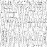 25th Anniversary Design with Gray Wavy Stripes Tile Pattern Repe Stock Photos