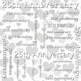 25th Anniversary Design with Gray and White Hearts Tile Pattern Royalty Free Stock Photos