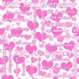 25th Anniversary Design with Pink and White Hearts Tile Pattern royalty free illustration