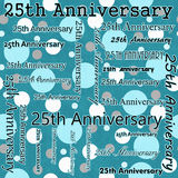 25th Anniversary Design with Teal Polka Dot Tile Pattern Repeat Royalty Free Stock Photo