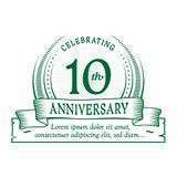 10th anniversary design template. 10 years logo. Ten years vector and illustration. 10 years anniversary celebration design template. Ten years logo. 10th stock illustration