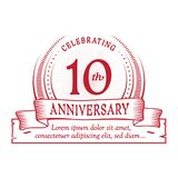 10th anniversary design template. 10 years logo. Ten years vector and illustration. 10 years anniversary celebration design template. Ten years logo. 10th royalty free illustration
