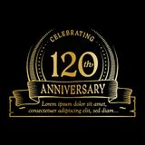 120th anniversary design template. 120 years logo. 120 years vector and illustration. 120 years anniversary celebration design template. 120years logo. 120th royalty free illustration