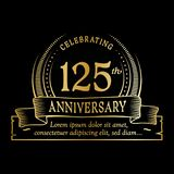 125th anniversary design template. 125 years logo. 125 years vector and illustration. 125 years anniversary celebration design template. 125years logo. 125th stock illustration
