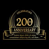 200th anniversary design template. 200 years logo. 200 years vector and illustration. 200 years anniversary celebration design template. 200years logo. 200th royalty free illustration