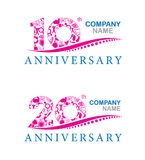 Company anniversary at 10 and 20 years  Stock Photography