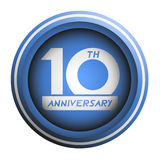 10th anniversary emblem. Design of 10th anniversary emblem Royalty Free Stock Photo