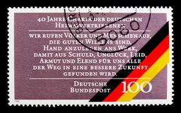 40th Anniversary of Expelled Germans Charter, serie, circa 1990. MOSCOW, RUSSIA - OCTOBER 3, 2017: A stamp printed in Germany Federal Republic shows 40th Anniv royalty free stock images