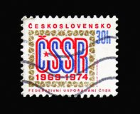 5th anniversary of Federal Government, serie, circa 1974. MOSCOW, RUSSIA - AUGUST 18, 2018: A stamp printed in Czechoslovakia shows 5th anniversary of Federal stock illustration
