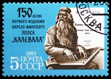 150th Anniversary of First Edition of \'The Kalevala\', circa 1985. MOSCOW, RUSSIA - MAY 25, 2019: Postage stamp printed in Soviet Union (Russia) devoted to royalty free stock photo