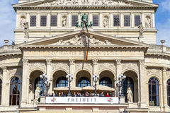 25th anniversary of German Unity in Frankfurt, people at balcony. FRANKFURT, GERMANY - OCT 3, 2015: people at balcony of old opera and one million other people Royalty Free Stock Photography