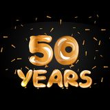 50th Anniversary gold greeting card. Vector illustration Stock Photo