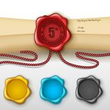 5th anniversary greeting card with other color wax seal Royalty Free Stock Image