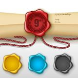 9th anniversary greeting card with other color wax seal Stock Photo