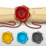 6th anniversary greeting card with other color wax seal. Vector Illustration Of 6th anniversary greeting card with other color wax seal Royalty Free Stock Photo