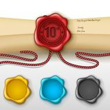 10th anniversary greeting card with other color wax seal. Vector Illustration Of 10th anniversary greeting card with other color wax seal stock illustration