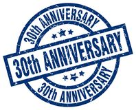 30th anniversary stamp. 30th anniversary grunge vintage stamp isolated on white background. 30th anniversary. sign Stock Photo