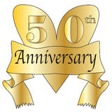 50th Anniversary Heart. In gold with scroll text isolated on a white background Stock Photo