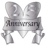25th Anniversary Heart. 25th anniversary icon in silver isolated on a white background Royalty Free Stock Photography