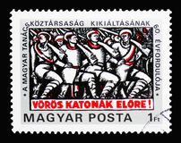60th anniversary of Hungarian Soviet Republic, Founding of the S. MOSCOW, RUSSIA - MARCH 18, 2018: A stamp printed in Hungary shows 60th anniversary of Hungarian royalty free stock photos