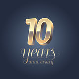 10th anniversary  icon, logo. Gold color graphic design element for 10 years anniversary birthday banner Royalty Free Stock Photo