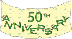50th anniversary. Illustration with banner for 50th anniversary Stock Image