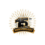 15th anniversary illustration. Fifteen years anniversary, gold badge, illustration design, isolated on white background stock illustration