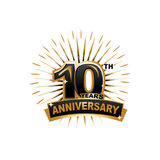 10th anniversary illustration. Ten years anniversary, gold badge, illustration design, isolated on white background Stock Photo