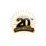 20th anniversary illustration. Twenty years anniversary, gold badge, illustration design, isolated on white background Royalty Free Stock Photos