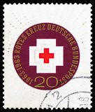 100th Anniversary of International Red Cross, Centenary of Red Cross serie, circa 1963. MOSCOW, RUSSIA - FEBRUARY 22, 2019: A stamp printed in Germany, Federal stock photos