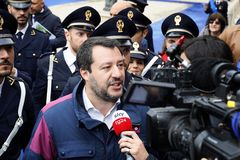 167th Anniversary of the Italian Police. Matteo Salvini interviewed royalty free stock photography