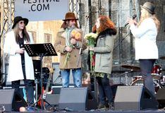 On 75th Anniversary of John Lennon festival in Riga. Thanksgiving to organizers of the Tribute festival 75th Anniversary of John Lennon in Riga, Latvia stock image