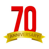 70th anniversary label. Big red number 70 with gold tape and text `anniversary` below. Vector tag isolated on white background. Celebration label for seventy vector illustration