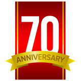 70th anniversary label. White digits 70 on red background. With yellow ribbon and word `Anniversary`. Vector label for celebration. Seventy years sign.n Stock Images