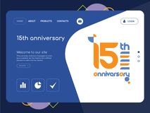 15th anniversary Landing page website template design. Quality One Page 15th anniversary Website Template Vector Eps, Modern Web Design with flat UI elements and Stock Photos