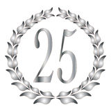 25th Anniversary. A 25th anniversary laurel over a white background Stock Photo