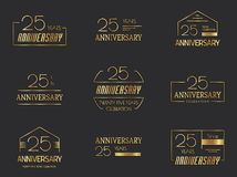 25th anniversary logo collection. Vector illustration Royalty Free Stock Photos