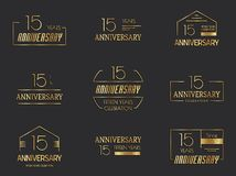 15th anniversary logo collection. Vector stock illustration