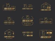 15th anniversary logo collection. Vector Stock Illustration