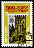 900th Anniversary of Lutsk, circa 1985. MOSCOW, RUSSIA - MAY 25, 2019: Postage stamp printed in Soviet Union (Russia) devoted to 900th Anniversary of Lutsk stock photo
