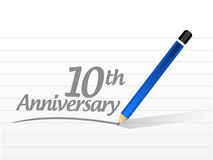 10th anniversary message sign illustration design. Over a white background Stock Images