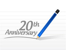 20th anniversary message sign illustration. Design over a white background Royalty Free Stock Image